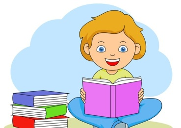 girl reading a book clipart