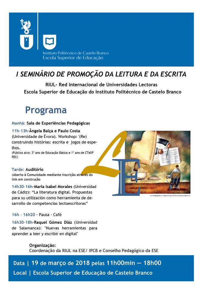 I Seminário de Promoção da Leitura e da Escrita RIUL