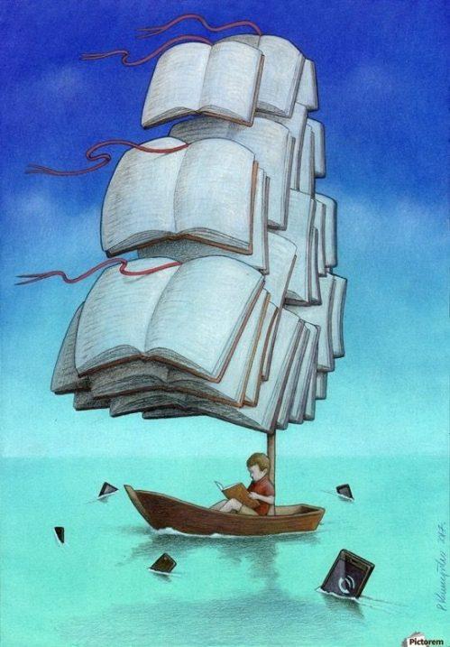 Illustrations-about-books-Pawel-Kuczynski-Sailing-with-sharks-540x775